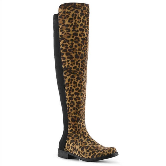 51f2c05e9ed UNISA GILLEAN LEOPARD OVER THE KNEE BOOT Size 7. M 5a355fd5a44dbe295a012a04